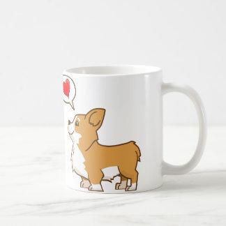 Taza de café del Corgi del el día de San Valentín