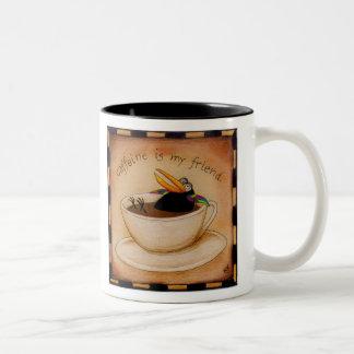 Taza de café del cuervo del demonio del cafeína