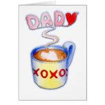 Taza de café del día de padre de amor tarjetas