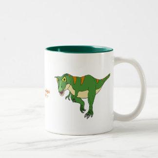 Taza de café del dinosaurio T-Rex y Stegosaurus