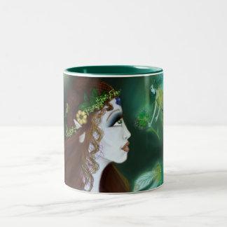 Taza de café del Dos-Tono del verde 11oz del deseo