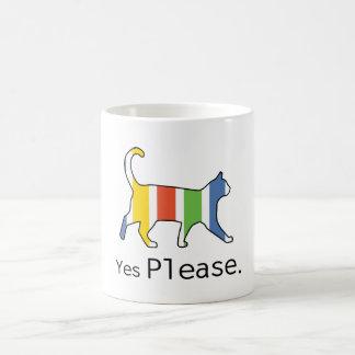 Taza de café del gato. Satisfaga sí