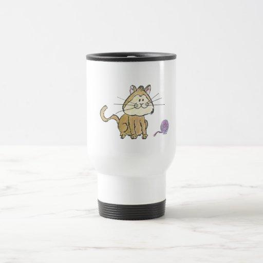 Taza de café del gato y del hilado
