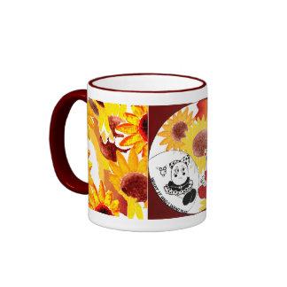 Taza de café del girasol - taza caprichosa del art
