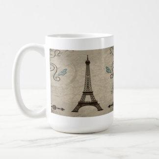 Taza de café del Grunge de la torre Eiffel