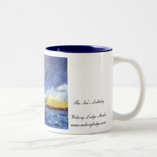 Taza de café del lago sunset
