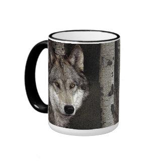 Taza de café del lobo del arte de la tinta