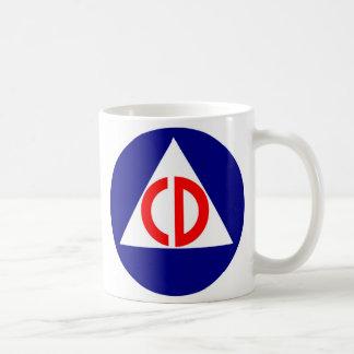 Taza de café del logotipo de la defensa civil