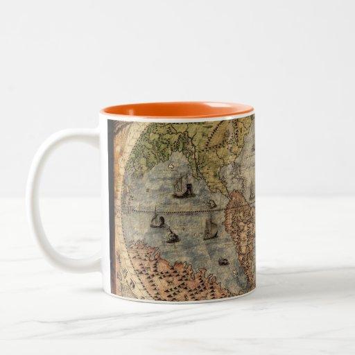 Taza de café del mapa de Viejo Mundo del vintage