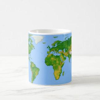 Taza de café del mapa del mundo