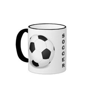 Taza de café del modelo del balón de fútbol