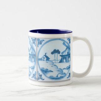 Taza de café del molino de viento de la teja de