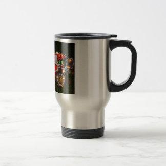 taza de café del motorista de santa del navidad