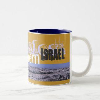 Taza de café del panorama de Jerusalén