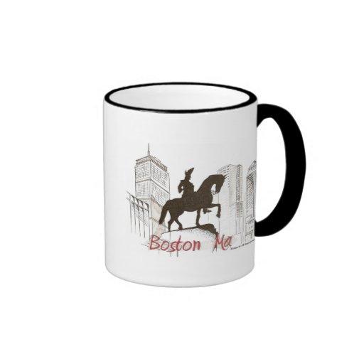 Taza de café del perfil de Boston Washington