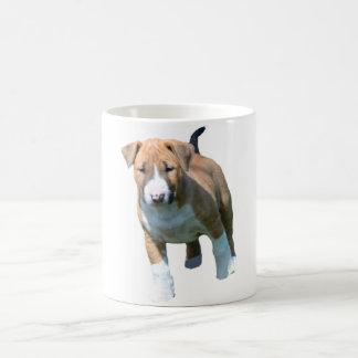 Taza de café del perrito de bull terrier