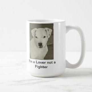 """Taza de café del pitbull """"soy un amante no un comb"""