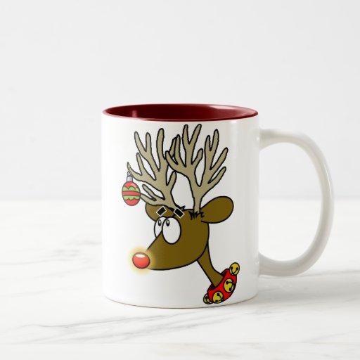 Taza de café del reno de las Felices Navidad