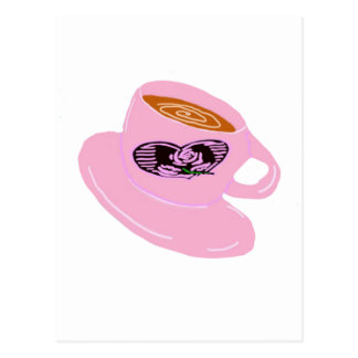 Taza de café del sello de goma postales