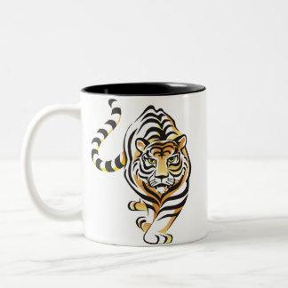 Taza de café del tigre del dibujo animado