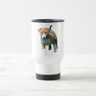 Taza de café del viaje del perrito de bull terrier