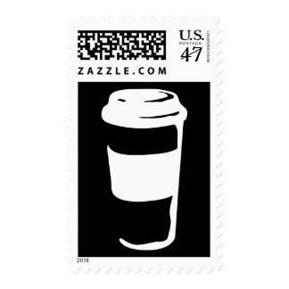 taza de café del viaje sello postal