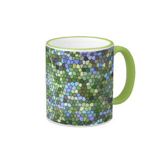 """Taza de café """"del vitral azul, verde y púrpura"""""""