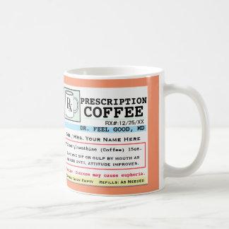Taza de café divertida de la prescripción RX