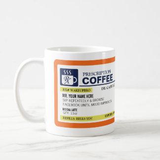 Taza de café divertida de la prescripción (zurdo)