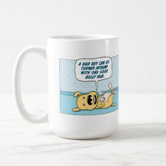Taza de café divertida del perro de la frotación d