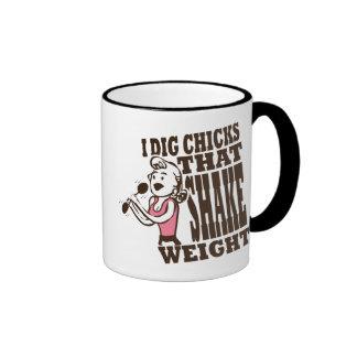 Taza de café divertida del peso de la sacudida