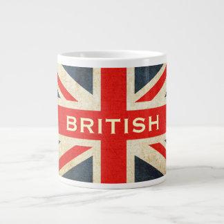 Taza de café enorme de Union Jack del Grunge britá Taza Grande