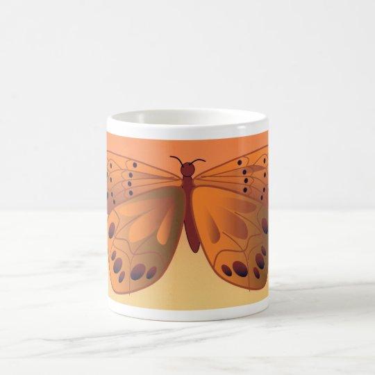 Taza de café estilizada de la mariposa