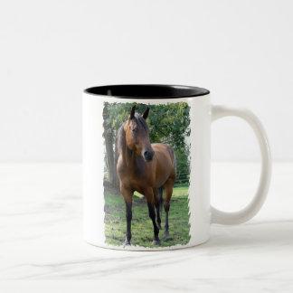 Taza de café excelente del caballo de la bahía
