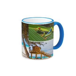 Taza de café exótica del collage de la foto de las