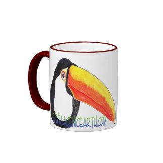 Taza de café exótica suramericana del pájaro de