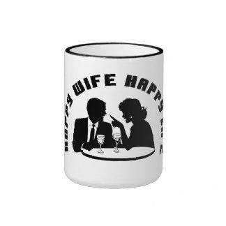 """""""Taza de café feliz de la vida de la esposa feliz  Taza A Dos Colores"""