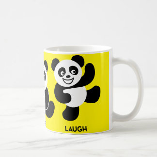 Taza de café feliz de las pandas del amarillo 3