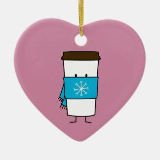 Taza de café feliz que lleva una bufanda adorno navideño de cerámica en forma de corazón