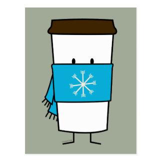Taza de café feliz que lleva una bufanda postal