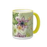 Taza de café floral de la primavera