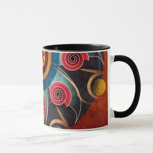 Taza de café floral del vector del extracto del