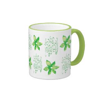 Taza de café floral verde