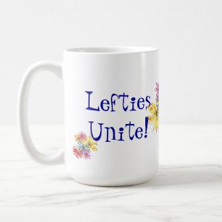 Taza de café floral zurda del arte de los zurdos