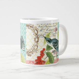 Taza de café francesa del pájaro del vintage moder taza grande