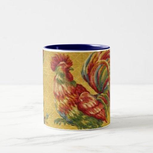 Taza de café francesa del tono del gallo 2 del oro