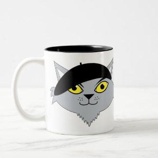 Taza de café fresca retra del gato del Beatnik