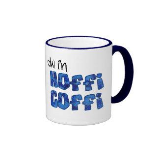 Taza de café Galés: Hoffi Coffi, azul veteó efecto