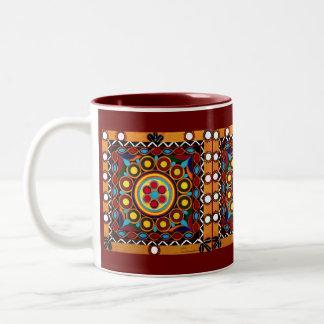 Taza de café global Bordado-Exótica de la teja del
