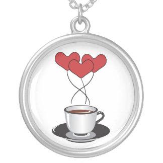 Taza de café, globos, corazones - negro blanco joyerias